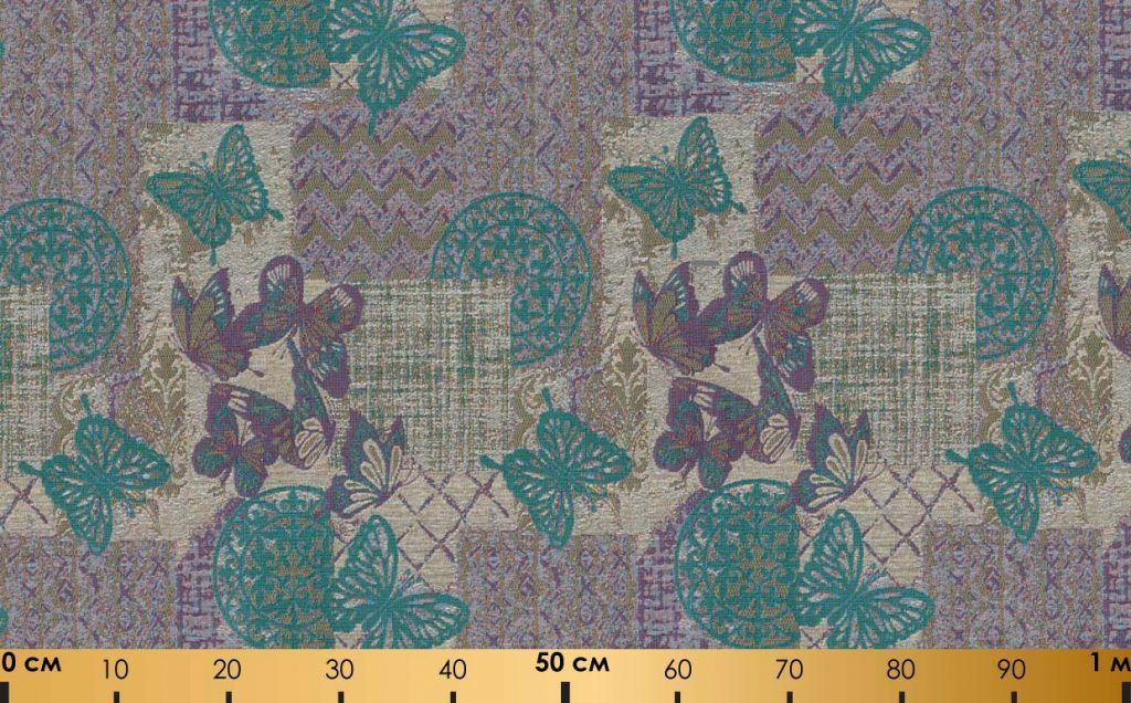 Жаккардовая ткань шенилл «Серебристые бабочки»