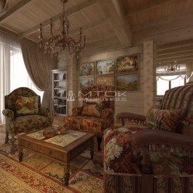 Интерьер дачной гостиной в стиле кантри с гобеленами МТОК