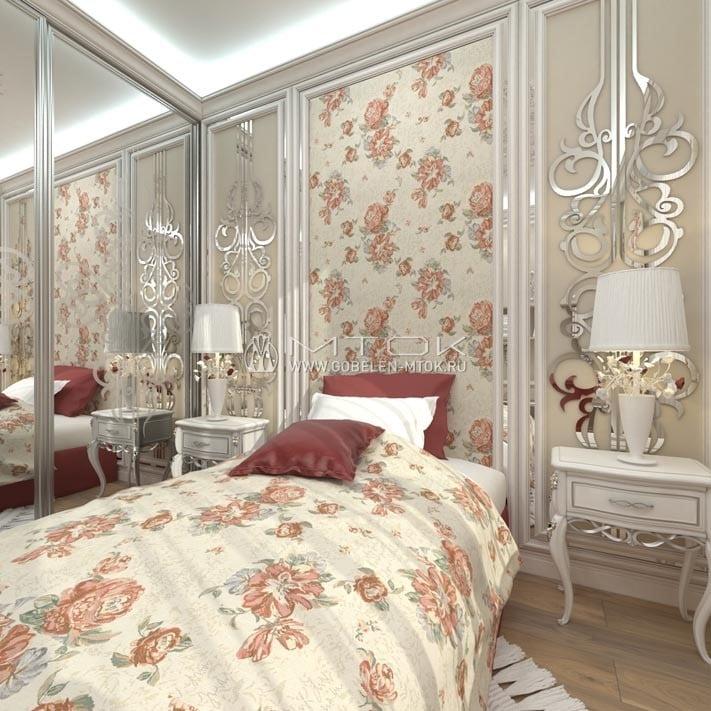 Светлая спальня с панелями из мебельной ткани «Клеопатра»