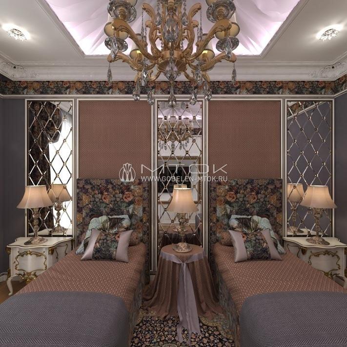 Интерьер спальни в стиле арт-деко с мебельной тканью «Розарий»