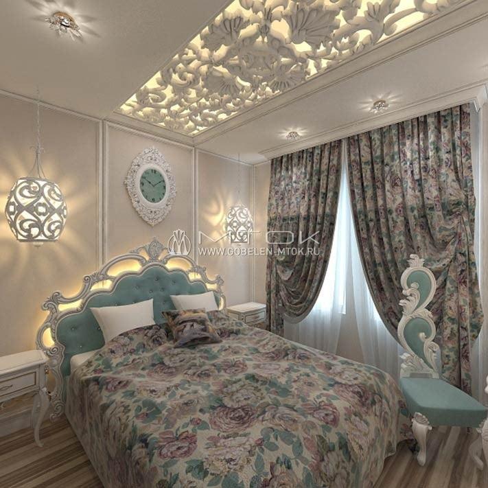 Интерьер бело-бирюзовой спальни в стиле арт-деко