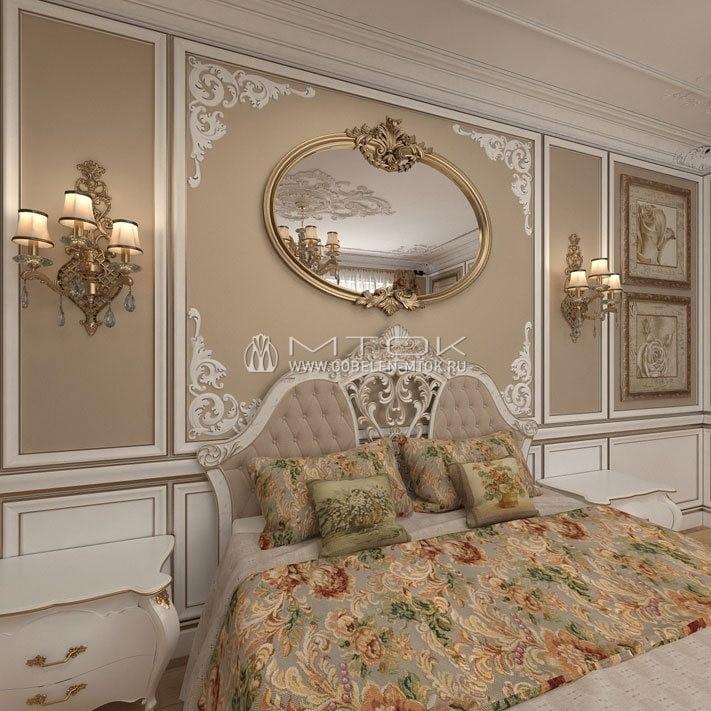Интерьер спальни в классическом стиле с тканью «Екатерина»