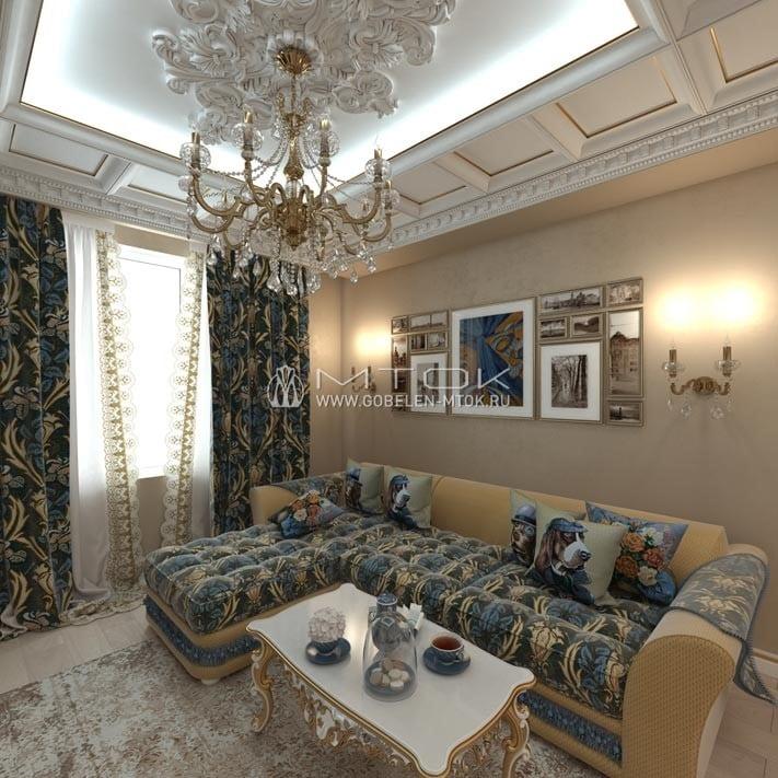 Гостиная в стиле арт-деко с мебельной тканью «Родос»
