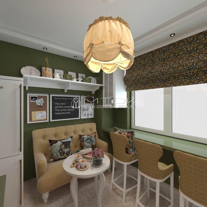 Интерьер маленькой кухни в стиле лофт с мебельной тканью «Гелиант»