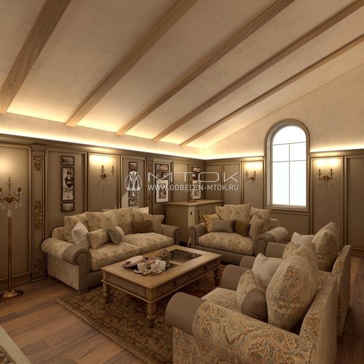 Классическая гостиная с текстилем «Дамаск»