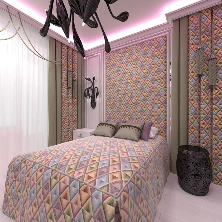 Современная спальня мебельной тканью «Калейдоскоп»