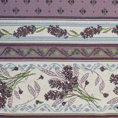Жаккардовая ткань - Лаванда-полоса белая