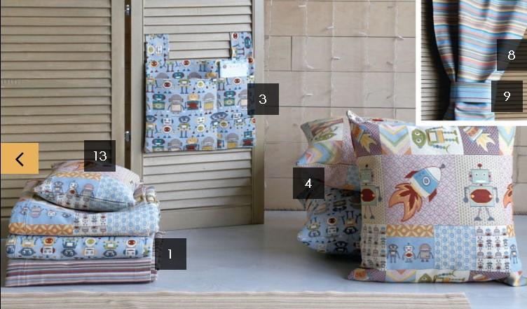 Коллекция детского текстиля и декора «Роботы»
