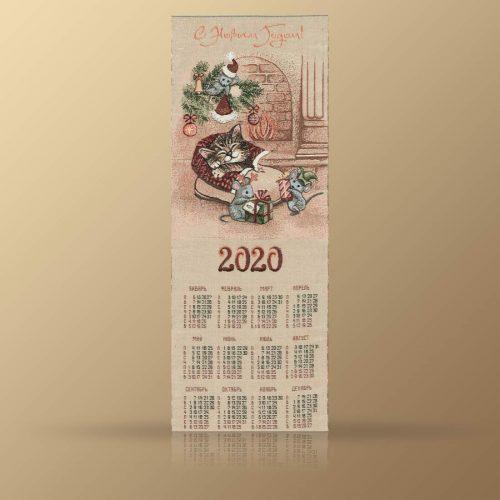 """Календарь из гобелена на 2020 год """"Кот в башмаке"""""""