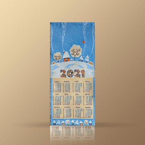 Календарь из гобелена на 2021 год. Зимний лес