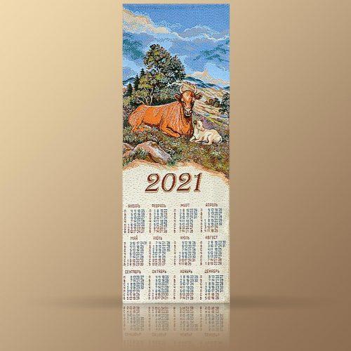 Календарь из гобелена на 2021 год. Деревенский пейзаж