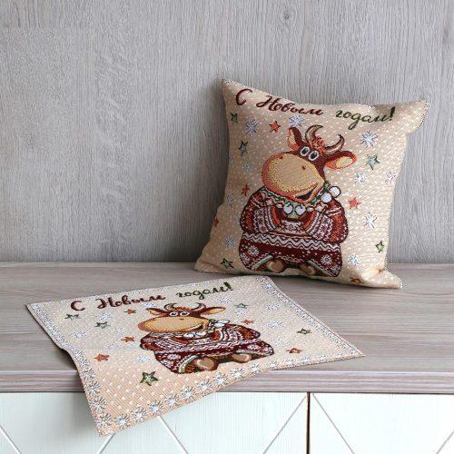Салфетка и подушка Весёлый бычок
